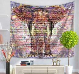Wholesale Livingroom Carpets - 2017 New Indian Elephant Tapestry Aubusson Colored Printed Decor Mandala Tapestry Religious Boho Wall Carpet LivingRoom Blanket