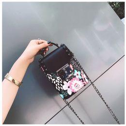 Wholesale Bead Mobile Phone Chain - 2017 New Arrival Korean Mini Mobile Phone Bag Female Embroidery PU Chain Bags Hasp Pocket Shoulder Bags