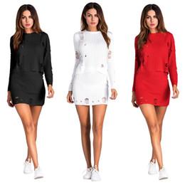 Wholesale Red Sweater Mini Dress - Hot fashionable popular 2017 bandage dress women white full sleeve knitted sweater dress sexy red two piece mini dress