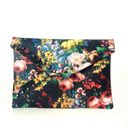 Wholesale Artworks Paintings - Summer Bag 2017 New Arrival Women Flower Clutches Painting Rivets Bag Leather Hand Bag Fashion Shoulder Bags