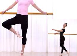 Wholesale Capri Dance Pants - Brand new adult ladies women professional lycra cotton super stretched black ballet dance Yoga gym exercise capri pants Croppe leggings