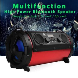 Wholesale Power Bass Portable Speaker - Portable 15W Big Power HiFi Wireless Bluetooth Speaker Woody Multifunction Subwoofer Cool LED Light Stereo Bass Music Player