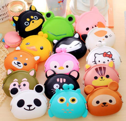 Wholesale Japanese Cute Wallets Women - Cute Mini key Wallet bag Women Silicone Coin Purse Japanese Candy Color lovely Animals Jelly Silicone Coin bag By DHL Shipping