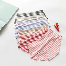 Wholesale Cotton Stripe Panties - 7 Colors Cotton Seamless Women's Underwear Color cotton navy wind stripes panties sexy simple triangle underpants