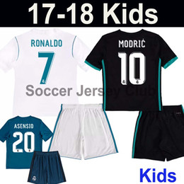 Wholesale Boys Youth Shirts - 17 18 Kids Real Madrid Soccer Jerseys 2017 2018 Children RONALDO ASENSIO BALE KROOS youth RAMOS ISCO MODRIC Third Blue football shirts