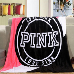Wholesale Fashion VS Pink Letter Blanket Soft Coral Velvet Rug Beach Towel Blankets Air conditioning Rugs Comfortable Carpet cm