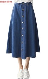 Wholesale Color 69 - High Quality waist 69-102cm XL - 4XL summer 2017 blue long skirt jeans women big size for denim a line cotton casual maxi