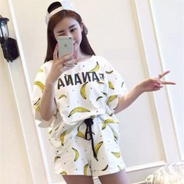 Wholesale Summer Lovers Sleepwear - Wholesale- New Summer 2017 Pajamas Sets Carton Women Pajamas Mujer Lovers Girls Nightgown Summer Women Pajamas Sets Home Clothing Sleepwear