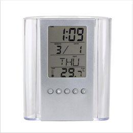 Wholesale Desk For School - 2017 Fashion electronic pen container Transparent calendar pen container pen Holder LCD Display Digital Alarm Clock For Office School Desk