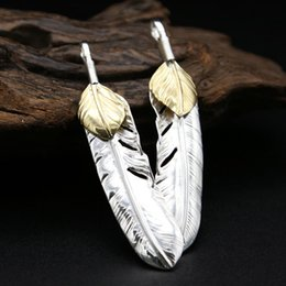 Wholesale Sterling Feather Necklaces - 925 Goro's sterling silver fashion jewelry nice feather shape necklace pendant vintage style two-tone color for wholesale free shipping