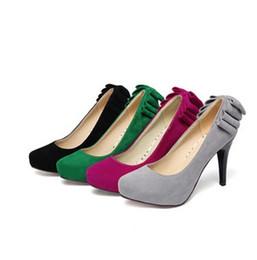Wholesale Korean Woman Nightclub - 2017 wholesalerFREE SHIPPING South Korean princess nightclub sexy super high heels bow tie platform shoe woman spring summer suede shoes 307