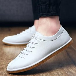 Wholesale Types Korean Men Fashion - Fashion Leather Casual Shoes for Men Round Toe Korean Type Lace-Up Durable Waterproof High Quality Footwear Wholesale