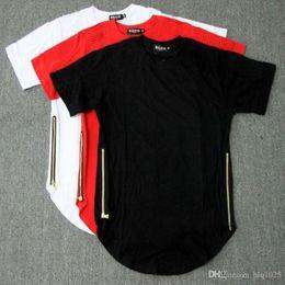 Wholesale Tyga Free Shipping - Fashion Men T Shirt Side Copper Zipper Cotton T Shirt Justin Bieber Fear Of God Rock Star Swag Tyga Tops free shipping