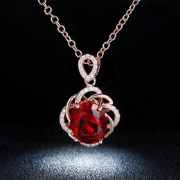 Wholesale Crystal Necklace Pendents - CC Jewelry wholesale Red Crystal Vintage Necklace Rose Gold color CZ Jewelry Pendents Necklaces For Women Wedding Party Accessories N010