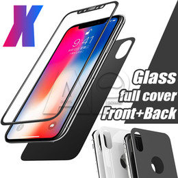 Wholesale Premium Covers - Premium Front Back Screen Protector For iPhone X Film Full Body Cover Rear Toughened Tempered Glass For iPhone X 10 With Package