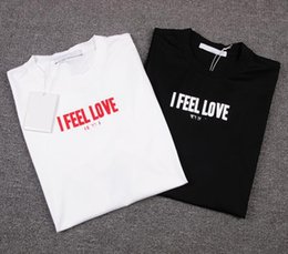 Wholesale Women Shirt Trend - Europe and the United States new trends, big I, FEEL, LOVE letters printing, mercerized cotton, t-shirt t-shirt, men and women with the same