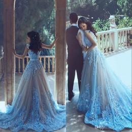 winter mode baby kleider Rabatt Sagte Mhamad neue Design lange Abendkleider Baby blau Applique eine Linie Bateau Hals bodenlangen formale Abend Party Kleider nach Maß
