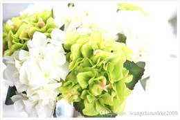 Wholesale Wholesale Silk Flower Prices - Free shipping Christmas party Fashion Wedding Silk Artificial Hydrangea Flowers HEAD White Home Ornament Decoration with low price