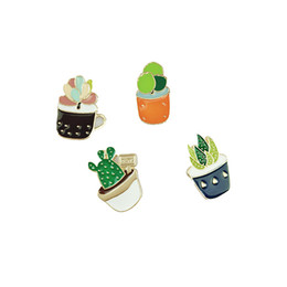 Wholesale Jewelry Cactus - Wholesale- fashion jewelry bag shirt collar jean accessories enamel cactus brooch pin