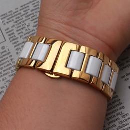 Новый черный белый ремешок для часов керамический С нержавеющей стали золотой металл ремешок для часов ремешок браслет 14 мм 16 мм 18 мм 20 мм 22 мм подходят умные часы S3 от