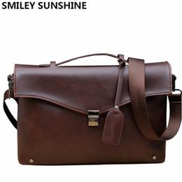 Wholesale Korean Men Briefs - Wholesale- 2016 Crazy Horse PU Leather Briefcases Korean Brown Business Bag Male Briefcases Portfolio Office Bag Handbag Men Brief Case