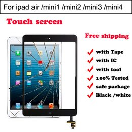 Wholesale Glass Ipad Mini Ic Connector - For iPad mini1 mini2 mini 3 mini 4 5th air Touch Screen Digitizer Glass Sensor with ic chip connector +home button full set White And Black