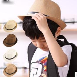 Wholesale Boys Fedora Hats Wholesale Straw - 8 Colors Choose Fashion Children Straw Hats Soft Fedora Panama Hats Outdoor Stingy Brim Caps Kids Jazz Caps Kids Dicers 10pcs A6609