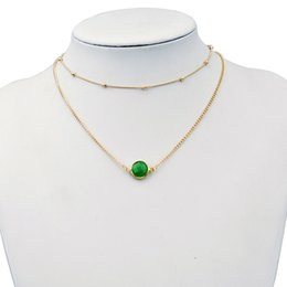 Pedra verde opala on-line-Europa e nos estados unidos colar de cristal de duas camadas da cor do ouro choker colar verde / rosa rodada opala pedra pingentes colares simples