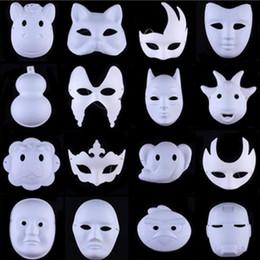 Wholesale Plain Paper Masquerade Masks - Hot White Unpainted Face Mask Plain Blank Version Paper Pulp Mask DIY Masquerade Masque Mask free shipping