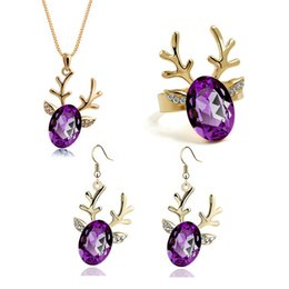 Wholesale Deer Earrings Crystal - New Year Silver Gold Crystal Rhinestone Fashion Crystal Jewelry Sets Deer Necklace Earring Ring Women Children Christmas Gift