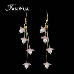 Wholesale Mother Pearl Flower Pendant - Women Simulated-pearl Long Hanging Earrings Gray Pink White Flower Drop Pendant Earrings Female
