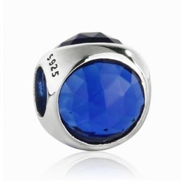 Wholesale Droplet Crystal Beads - Fit Brand Bracelets 2017 Summer Blue Crystal CZ Radiant Droplets Charms Bead 925 Sterling Silver Faceted Bead DIY Jewelry Accessories HB734L