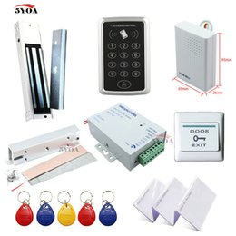 Wholesale exit buttons - RFID Access Control System Kit Frame Glass Door Set+Eletric Magnetic Lock+ID Card Keytab+Power Supplier+Exit Button+DoorBell