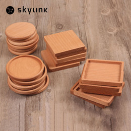 Wholesale Wood Wine Glasses - Wholesale- 1 PCS Square And Round Mini Wooden Pallet Whiskey Wine Glass Cup Mat Pad Hot Cold Drink Coasters Mug Wood Kitchen Table Mats