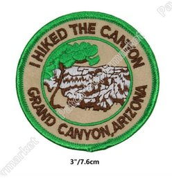 """Wholesale Arizona Clothing - Travel Souvenir Patches """"I Hiked The Grand Canyon"""" Arizona National Park Embroidered Iron On badge wappen clothing Outdoor bag"""
