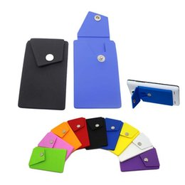 Wholesale Portable Back - Silicone Snap Pocket Wallet Portable Phone Back Card Holder Slot Stick-on Wallets Cell Phone Pouch Universal 3M sticker for Phone
