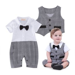 Wholesale Summer Vests For Boys - Plaid baby boys gentleman short sleeves Vest waistcoat Rompers For Babies Bodysuits bow kids One Piece Clothing Newborn Jumpsuit Lovekiss A3