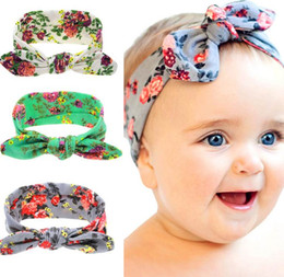Wholesale Europe Headbands - Europe and America Fashion Baby Girl Headbands Bunny Ear Floral Elastic Cotton Children Hair Accessories KT055