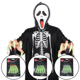 Wholesale Halloween Lighted Witch - Halloween Decoration Night Lighting Luminous Long Sharp Fingernails Set Vampire Witches Cosplay Party Decor Stage Acting Scary Props