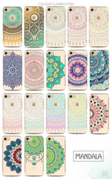 Wholesale Iphone Painted - Henna White Floral Paisley Flower Mandala Printing Painting Phone Soft TPU Gel Clear Transparent Case For iPhone 5 5S SE 6 6S 7 Plus iPhone7
