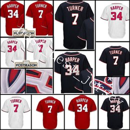 Wholesale Cheap High Top Shorts - Top sales Men #34 Bryce Harper 7 Trea Turner Jersey High quality Cheap Baseball Jerseys wholesale Free Shipping