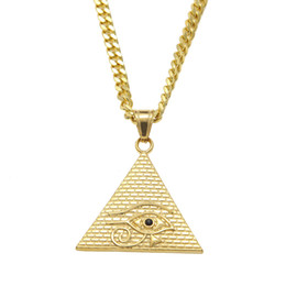 """Wholesale Stainless Steel Curb Necklace - Ancient Egyptian Pyramid Eye Of Horus Pendant Necklace Hip Hop Illuminati Necklace with 27.5""""inch Miami Cuban Curb Chain"""