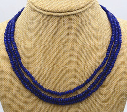 Wholesale Natural Blue Sapphire Beads - New NATURAL 3 Rows 2X4mm FACETED DARK Blue Sapphire BEADS NECKLACE AAA
