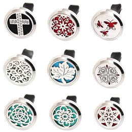 Wholesale Car 16 - More Than 16 Styles fashion 30mm Diffuser 316 Stainless Steel Pendant Car Aroma Locket Essential Oil Car Diffuser Lockets Free 100pcs Pads
