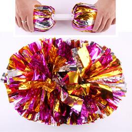 materiales de llavero al por mayor Rebajas 12 Unids / lote Cheerleading Pom Sport Competition Poms Flower Ball Games Party Show Dance Hand Flowers Pompones de Cheerleading
