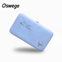 Wholesale Umbrella Packaging - Wholesale- Cartoon Umbrella Pattern Ladies Long Wallet Phone Package Boxes Female Bag Women Leather Boxes Wallet Purse Card Holder Clutch