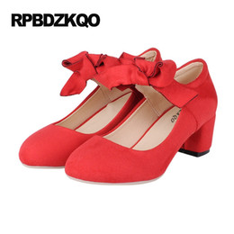 Wholesale Modern Women Office Dress - Red Bow 2017 Cheap Suede Thick Medium Size 4 34 Round Toe Modern High Heels Pumps Women Ankle Strap Dress Shoes Spring Autumn