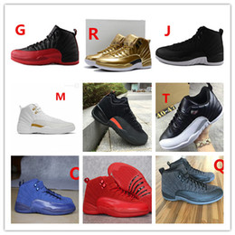 Wholesale Grey Suede Lace Shoes - hot air retro 12 mens basketball shoes wool mens sneaker Black Nylon Blue Suede discount shoes flu game french blue sports shoes online
