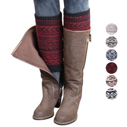 Wholesale Jacquard Knitted Legging - Wholesale- Hot Women Winter Long Knitted Leg Warmer Fashion Color Block Jacquard Acrylon Wool Crochet Knit Boot Cover Socks Toppers Cuffs