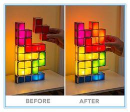 Wholesale Led Lamp Tetris - DIY Tetris Puzzle LED Night Light Retro Style Game Stackable LED Puzzle Light Wall Lamp Romantic Light Colorful